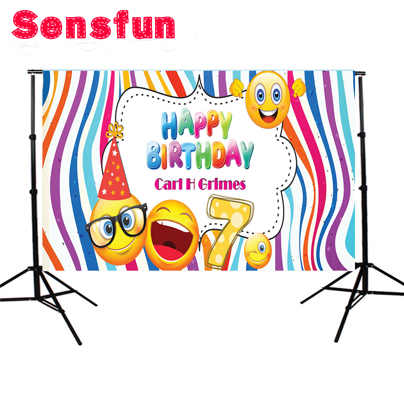7x5FT Emoji Happy Birthday Banner Children Custom Photo Studio Background Backdrop Vinyl