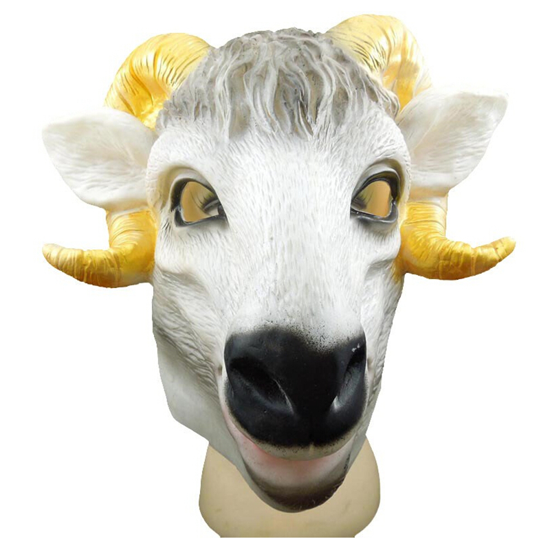 Free ship Halloween Creepy goat mask Lifelike Cosplay Funny Perky Sheep head latex Rubber Face Masquerade Fancy Ball Supplies ...
