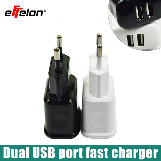 Effelon Universal Dual Ports Travel Wall Charger Adapter Portable EU Plug For Smart Mobile Phone Charge Tablet PC