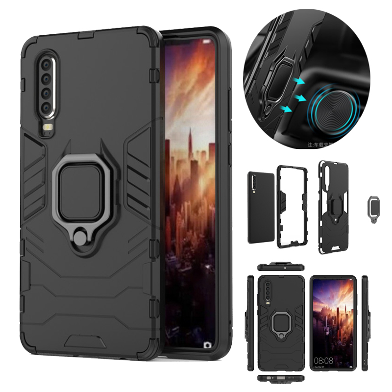 For Huawei P30 Armor Shockproof Case Hybrid Hard PC Magnetic Car Holder Soft TPU Silicone Back Cover Pro Fundas