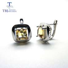 TBJ,citrine clasp earring simple elegant design Natural gemstone with 925 sterling silver fine jewelry for women wife gift tbj natural ruby gemstone simple