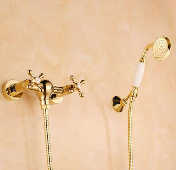 High Quality new arrivals gold finished Brass Bath & Shower Faucet Set+single hand held Shower Wall Mounted shower faucet mixer gappo classic chrome bathroom shower faucet bath faucet mixer tap with hand shower head set wall mounted g3260