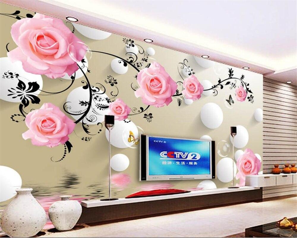 Beibehang wallpaper Roses reflections 3D circles TV backgrounds walls living rooms bedrooms wallpaper walls 3 D murals photo