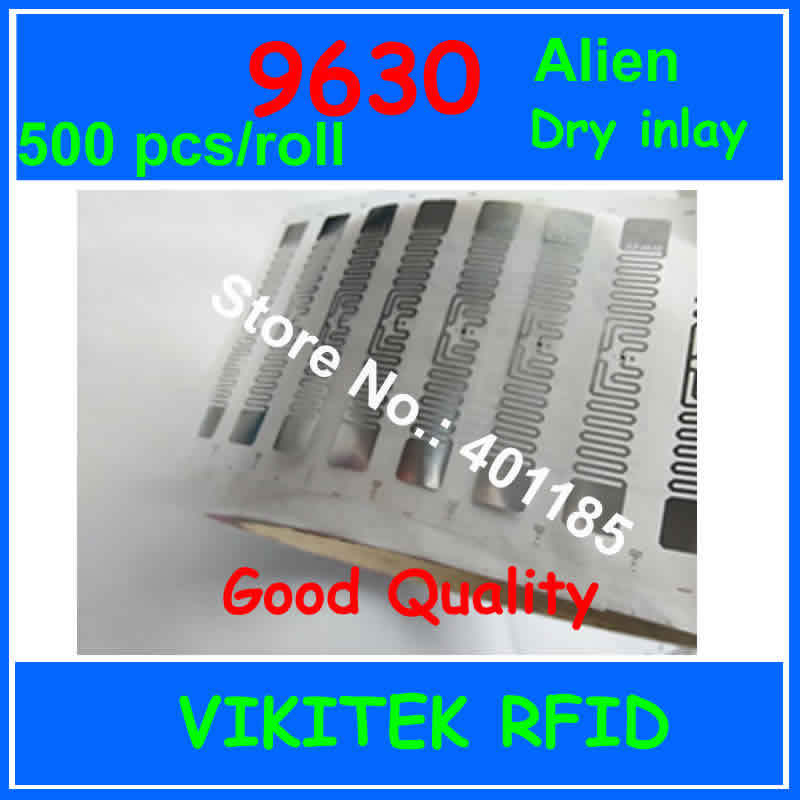 Alien authoried 9630 UHF RFID dry inlay 500pcs per roll 860-960MHZ Higgs3 915M EPC C1G2 ISO18000-6C can be used RFID tag label