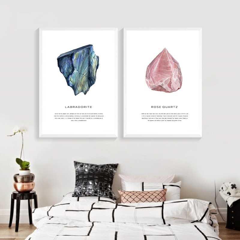 Акварельные кристаллы Geode Искусство Холст Картина Настенная картина розовый кварц драгоценный камень Холст принты и плакат современный дом Агат Искусство Декор