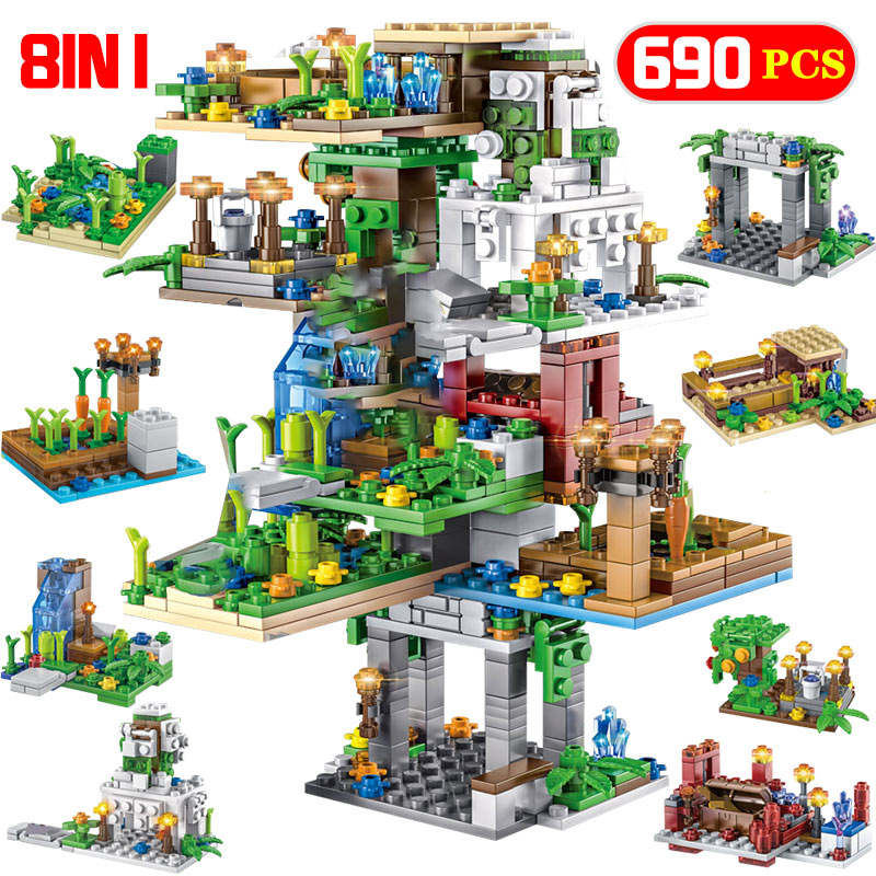 690PCS 8 IN 1 Hanging Garden Building Blocks Legoingly My World Tree House Bricks Education Toys For Kids Christmas Gifts