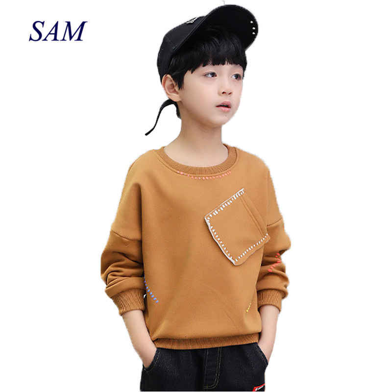 Boys T-Shirts Tops Spring Long-Sleeve Autumn Kids Children Cotton School New Solid Tees