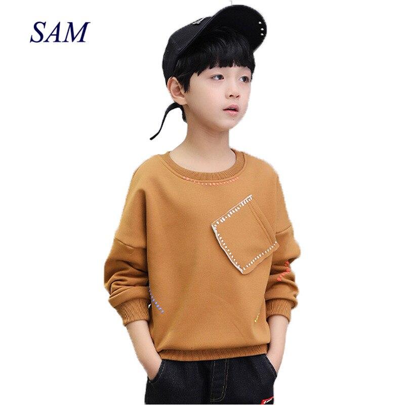 Nuevo 2019 niños camisetas de manga larga tops ropa de algodón sólido primavera otoño niños escuela camiseta niños ropa
