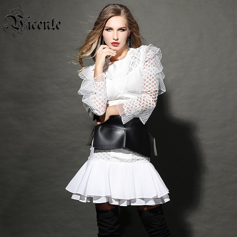 Vicente All Free Shipping HOT 2019 New Cascading Ruffles Embellished Sexy Hollow Out Mesh Splicing Celebrity