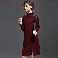 HANZANGL Winter Dress 2017 Korean Fashion Women Long Sleeve Knitted Sweater Dresses High Quality Thick Warm