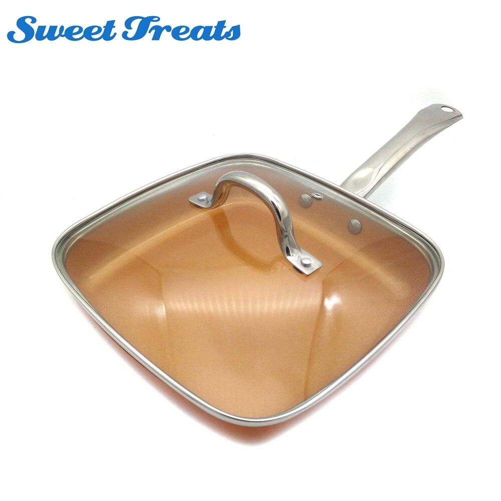 Sweettreats Casserole En Cuivre Pouces Antiadhésive Profonde Carré Induction Poêle À Frire avec/sans Couvercle En Verre, lave-Vaisselle Au Four