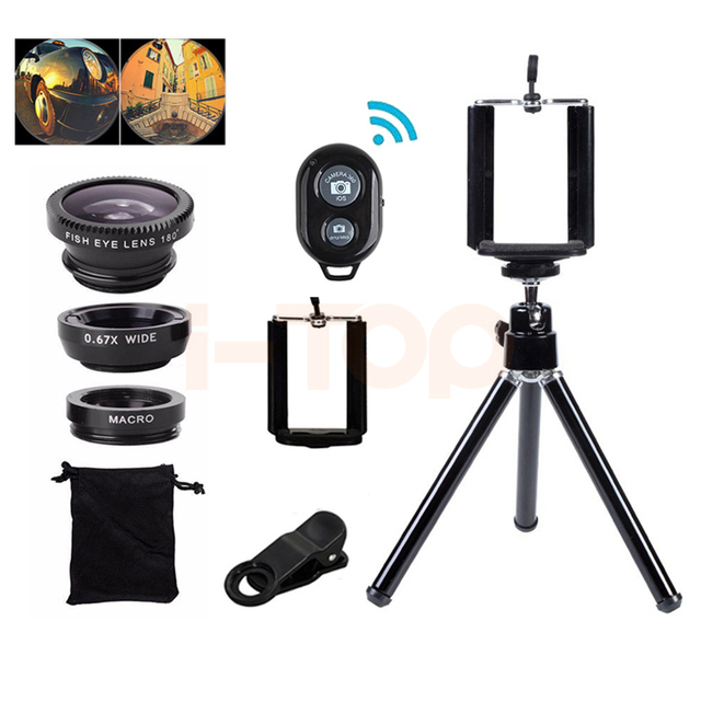 2017 7in1 Camera Lenses Kit With Clips Mini Tripod Wide Angle Macro Fish eye Lens For iphone 4 4s 5 5s 5c SE 6 6s 7 8 Cell Phone