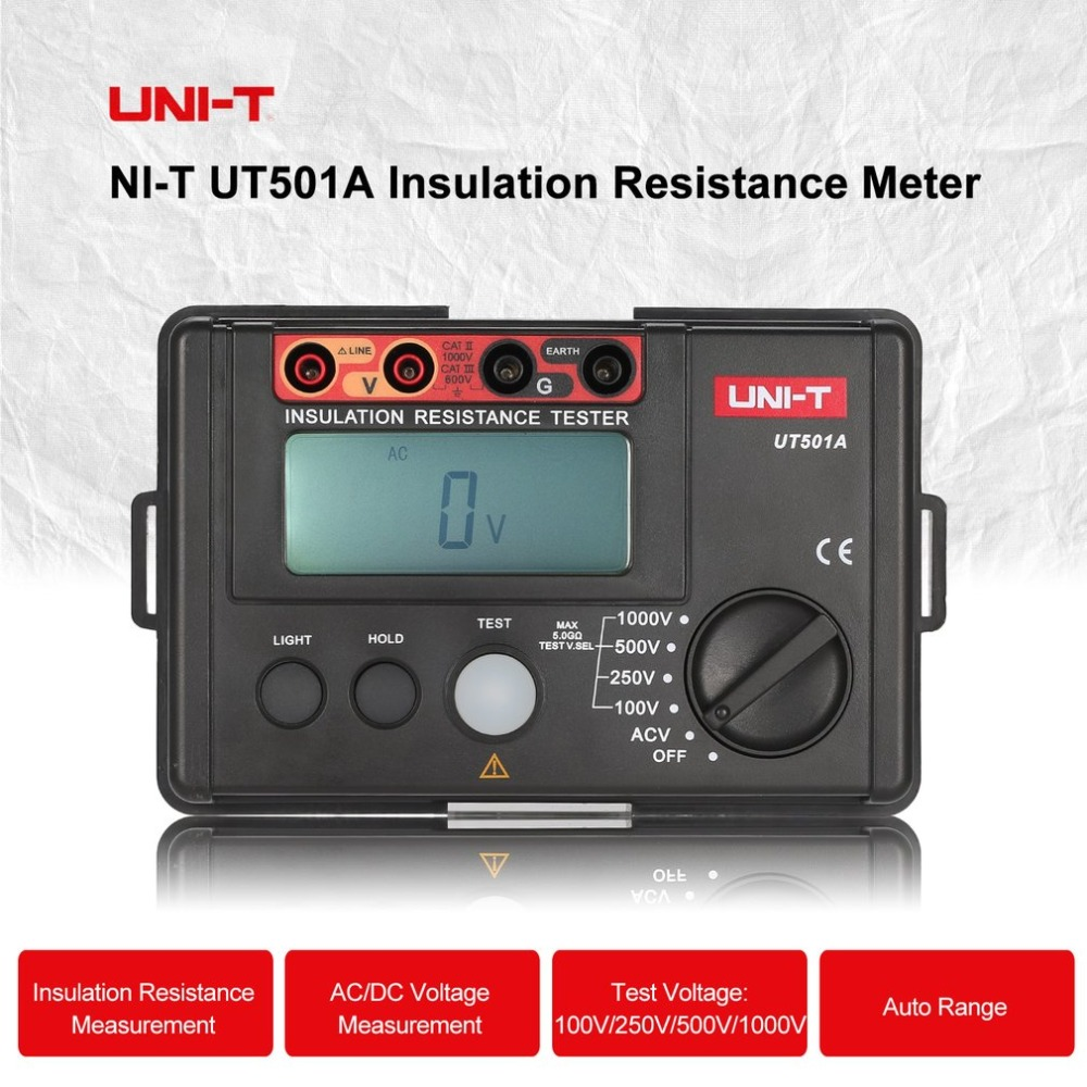 цена на UNI-T UT501A Digital Insulation Resistance Meter Ground Tester Megohmmeter Voltmeter High Voltage Input Alarm Backlight 1000V