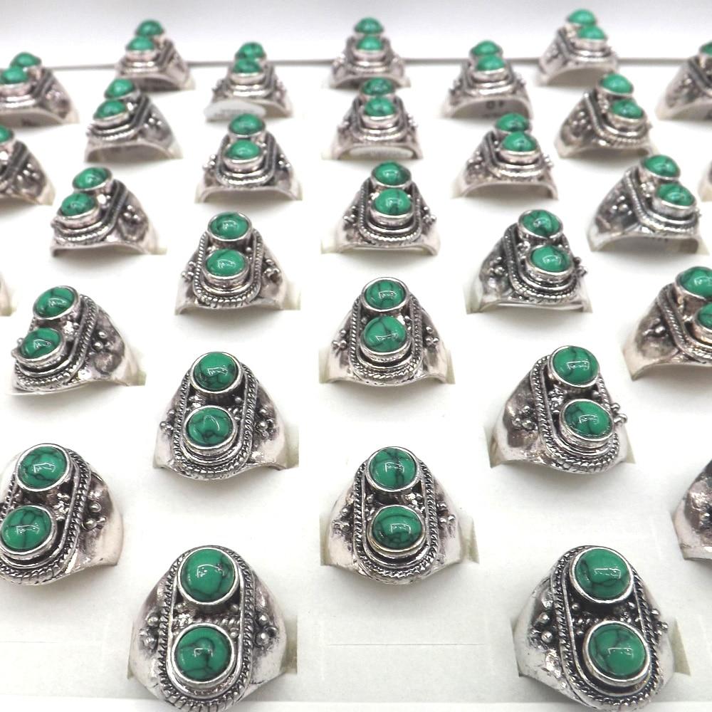 Fashion Binary Star Antique Silver Semi-precious Stone Rings For Promotion 50pcs/lot