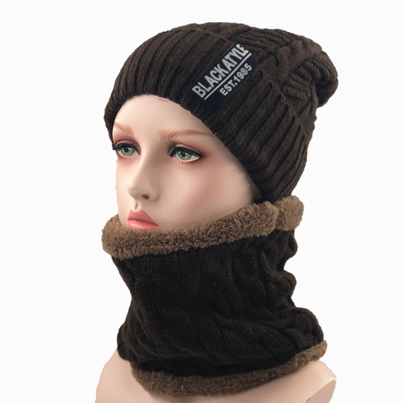 Balaclava Women's Knitted Hat Scarf Caps Neck Warmer Winter Hats For Men Women   Skullies     Beanies   Warm Fleece Cap 5 Colors