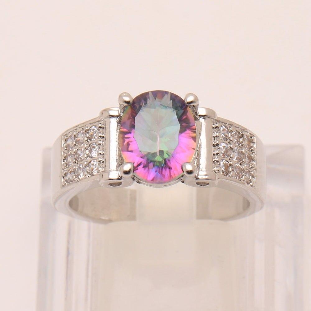 Мистик Радуга Обручение кольца 2017 Циркон ювелирные изделия для Для женщин свадебные серебряные Цвет Роскошные Обещание Кольца