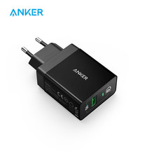 Carga rápida 3,0, cargador de pared USB Anker 18W enchufe UK/EU (Compatible con carga rápida 2,0) powerPort + 1 para iPhone iPad HTC LG, etc.(China)