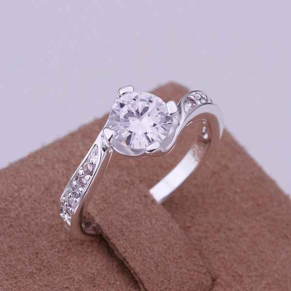 จัดส่งฟรี 925 เครื่องประดับ silver plated แหวนแฟชั่น Silver Plated Zircon ผู้หญิง & ผู้ชายนิ้วมือคุณภาพสูง SMTR148