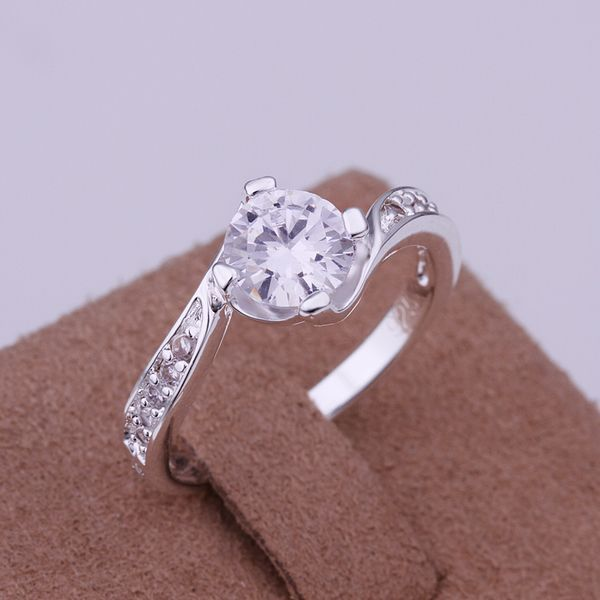 Free Shipping 925 jewelry silver plated Ring Fine Fashion Silver Plated Zircon W