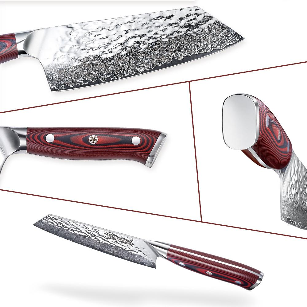 Image 4 - Sunnecko 7 Damascus Cleaver Knife Japanese AUS10 Steel Core  Hammer Blade G10 Handle Kitchen Chef Cooking Nakiri Knives CutKitchen  Knives