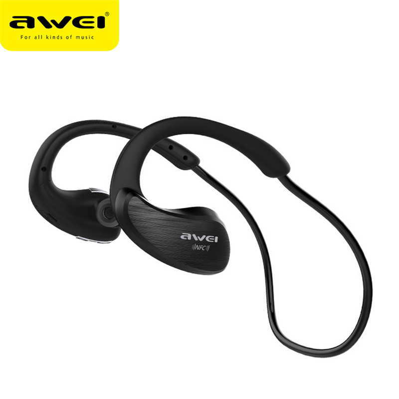 New Awei A885BL IPX4 Waterproof Bluetooth Headphone Sport Wireless Earphone NFC With Mic Stereo Earbuds In Ear For iPhone new guitar shape r9030 bluetooth stereo earphone in ear long standby headset headphone with microphone earbuds for smartphones