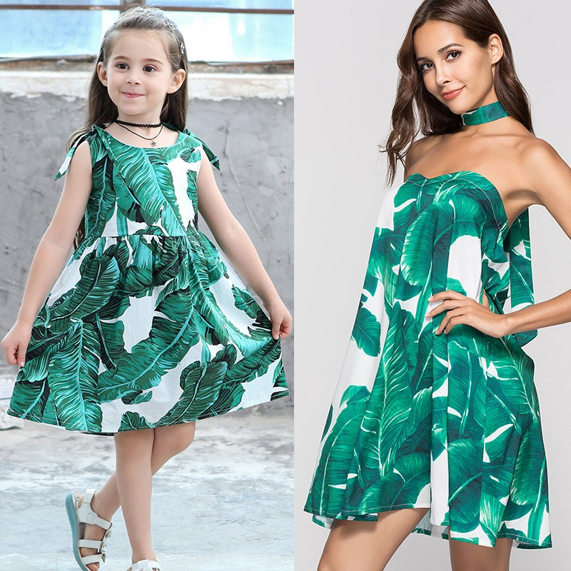 цена fashion mother and daughter clothes family matching clothes leaves print dress sleeveless princess dress Matching Family Outfits