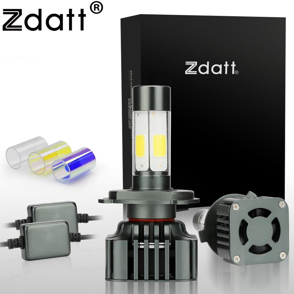 Zdatt Super Bright H4 Led Bulb 100W 12000LM Car Led Headlights H7 H8 H9 H11 9005 HB3 12V Fog Lamp Automobiles Canbus 3 Colors