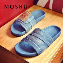 a626bda6499c Designer Women Summer Slippers Flat Denim Sandals Comfortable Slide Anti  Slip Zapatos Mujer Casual jean Shoes