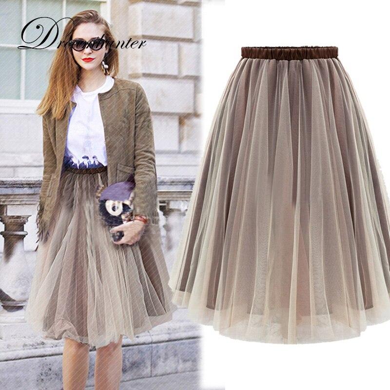 Spring Summer Tulle Skirts Womens BlackGray Brown Adult Tulle Skirt Elastic High Waist Pleated Midi Skirt Tutu Skirt Jupe Longue