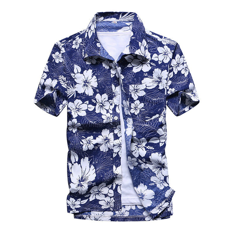 2019 Summer Streetwear Beach Hawaiian Shirts Men Fashion Coconut Tree Printed Short Sleeve Button Down Hawaiian Shirts Men S-5XL