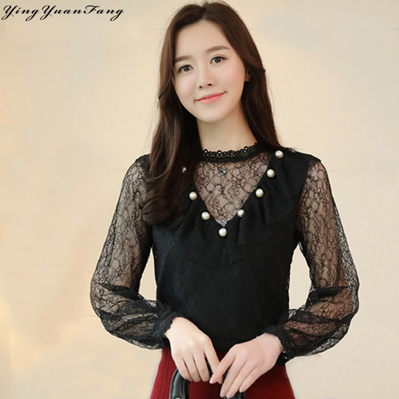 YingYuanFang New fashion lace stand collar hollow out long sleeve  women's shirt