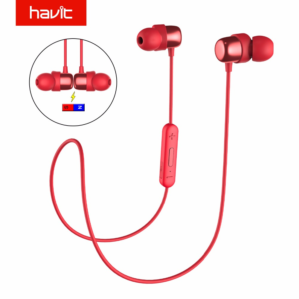 HAVIT Bluetooth Earphone Sport Earbuds Sweatproof IPX5 Waterproof V4 2 Magnetic Earphones With Microphone 10 Hours