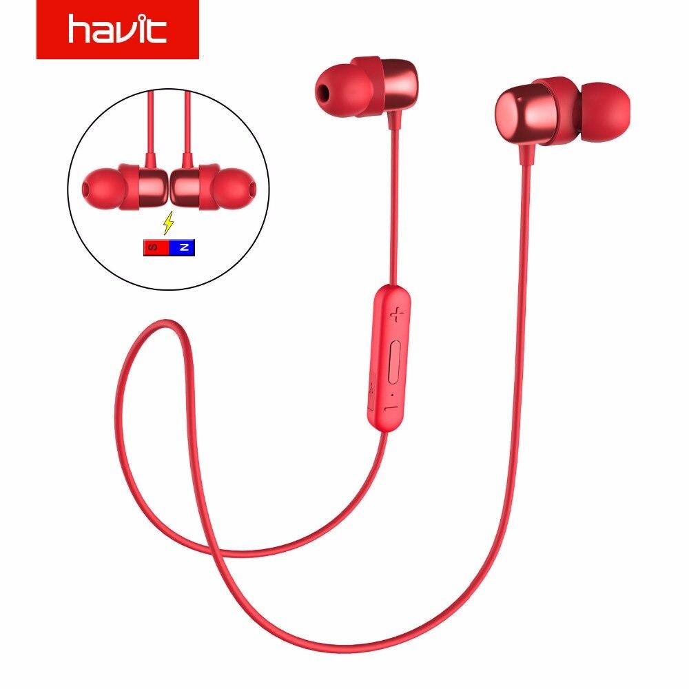 HAVIT Esporte Fone De Ouvido Bluetooth Fones de Ouvido Sweatproof IPX5 10 Horas Playtime I39 V4.2 Magnético Fones De Ouvido Com Microfone À Prova D' Água