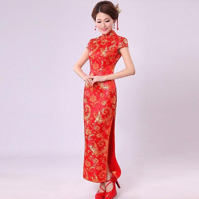 Chinese traditional dress pteris flower married red cheongsam long design chinese improved cheongsam wedding dress evening dress