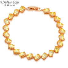 Australia Zirconia Charm Bracelets for Ladies Gold Tone Yellow Crystal Wholesale & Retail Fashion jewelry TB846