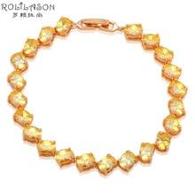 Australia Zirconia Charm Bracelets for Ladies Gold Tone Yellow Crystal Wholesale & Retail Fashion jewelry TB846