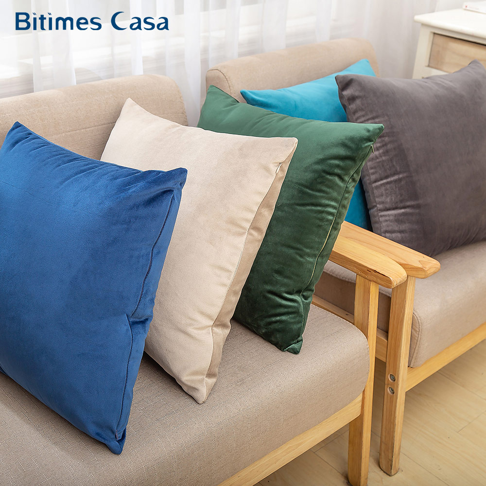 Solid Color Velvet Cushion  For Sofa Couch Turquoise Color Pillow Case For Bed Soft Touch Matching Curtain Home Decor