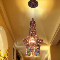 Coffee pendant light Southeast Asia Thai style color crystal pendant lamp Mediterranean bohemian restaurant lights WL5051419