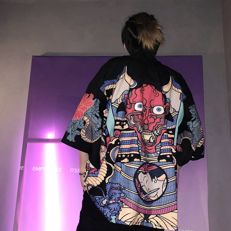 2019 new japanese kimono cardigan men wave print l...