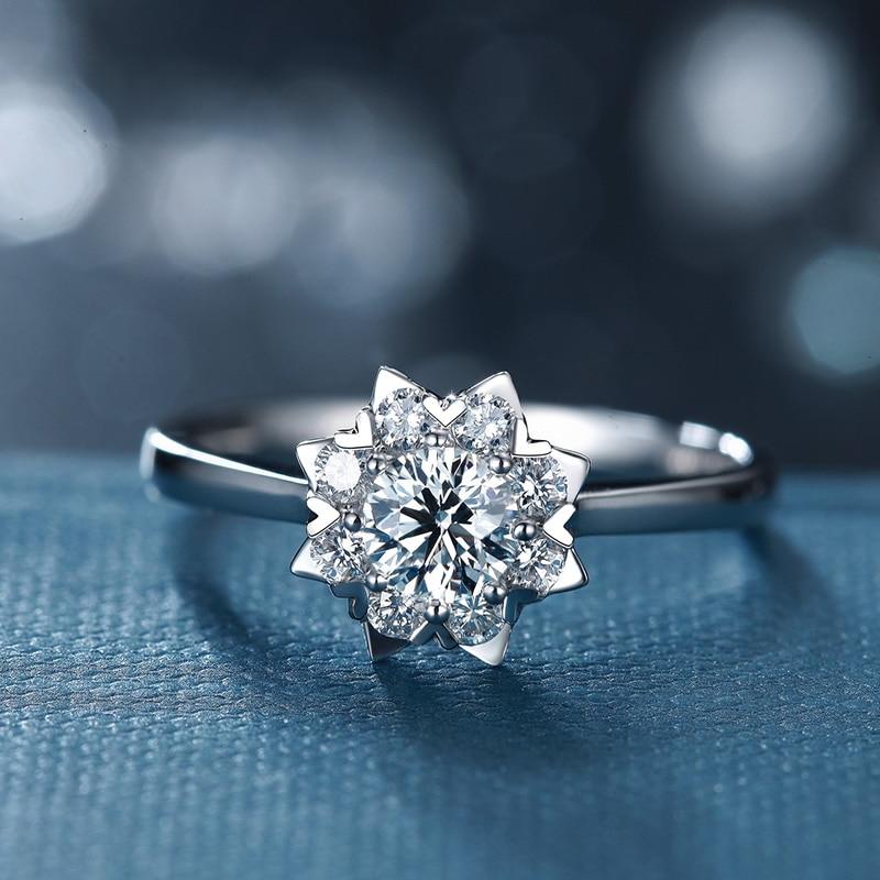 ANI 18K White Gold (AU750) Wedding Ring 0.2 CT Certified I/SI Diamond Flower Shape Heart Prong Bridal Band for Lovers Engagement shape i