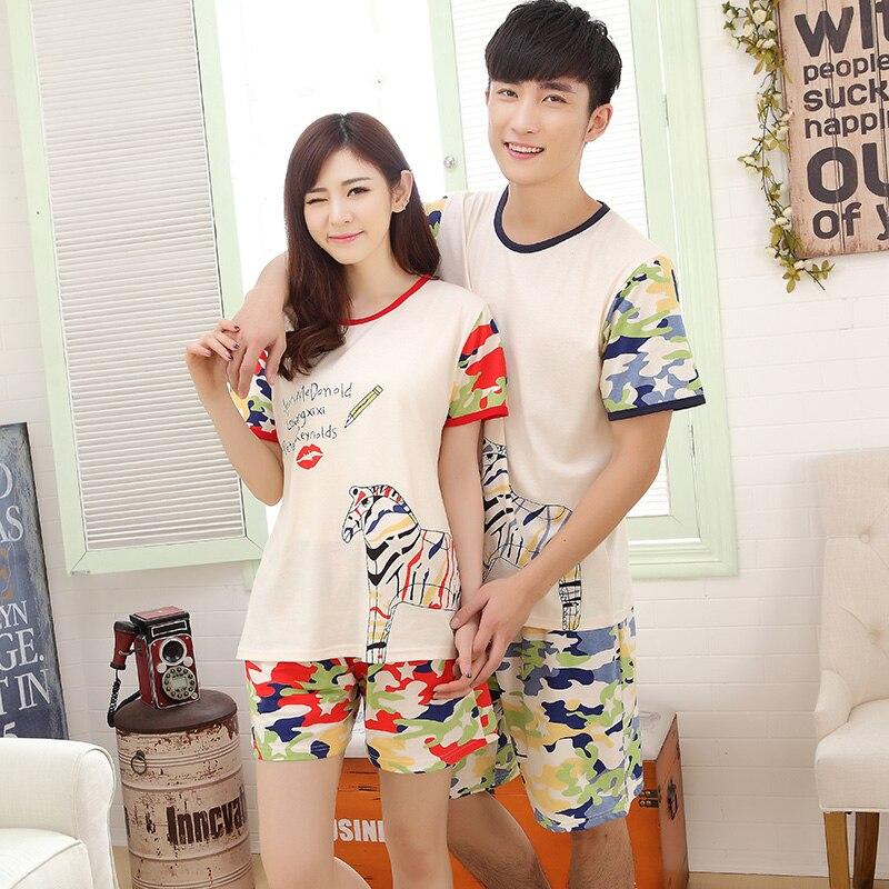 Summer Women Striped Pajamas Sweet Girl Pajama Sets Cotton Pijama Hombre Masculino Pyjamas Men's Pajamas Couples Camo Fashion