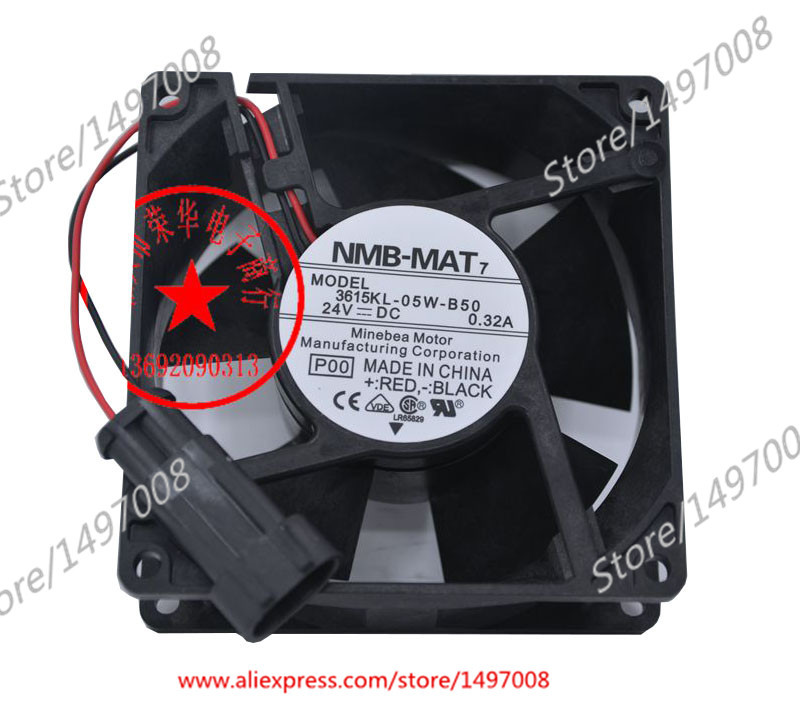 Free Shipping For NMB 3615KL-05W-B50, P00  DC 24V 0.32A 2-wire 2-pin connector 80mm 90X90X38mm Server Square fan genuine spare parts abb acs800 90 90 38mm 24v 0 32a 2 line waterproof fan pq1 3615 kl 05w b50