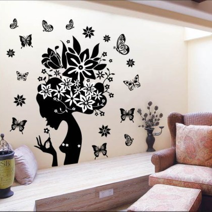 Cute Colorful PVC Removable lovely girl with butterfly wall stickers home decor for home decoration,adesivo de parede