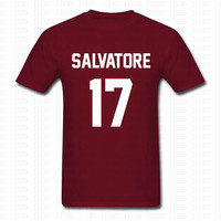 Fashion Vampire Diaries Mystic Falls Timberwolves TShirt Top Tees Homme Salvatore 17 Maroon Cotton T Shirt