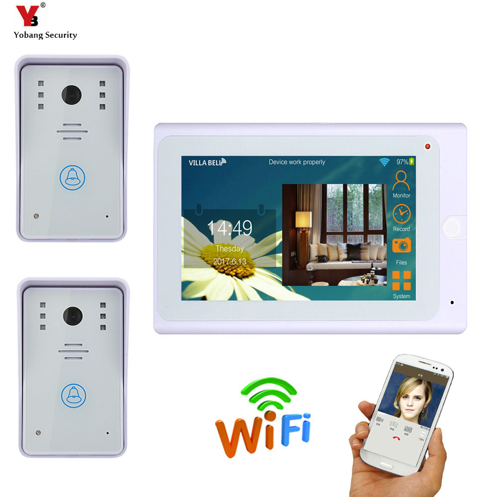 YobangSecurity 7inch Wired/Wireless WIFI Video Door Phone Doorbel Intercom System Night Vision Waterproof Camera with Rain Cove saful 7 inch lcd wired video door phone intercom waterproof night vision button electric lock control function free shipping