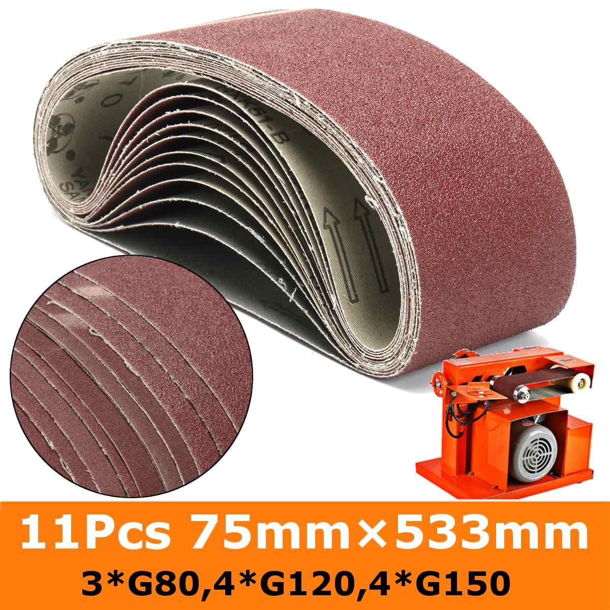 11Pcs Sanding Belts 75mm X 533mm 80 120 150 Mixed Grit Alumina Sander File Belt Set Abrasive Tools Accessories