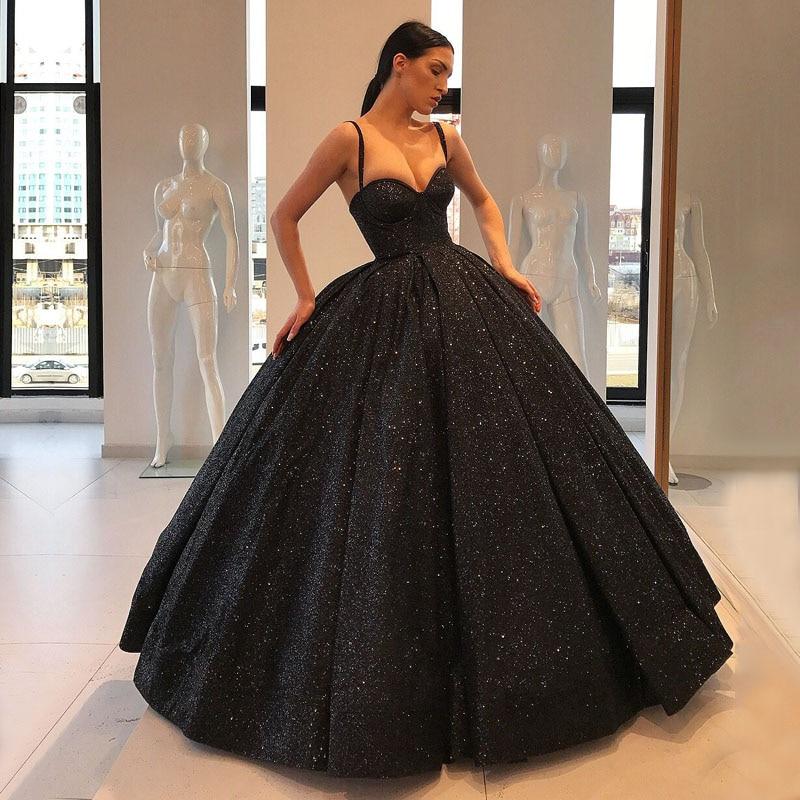 Sparkly Long Puffy   Evening     Dress   2018 Sweetheart Sleeveless Glitter Dubai Women Black Arabic Style   Evening   Formal Gown
