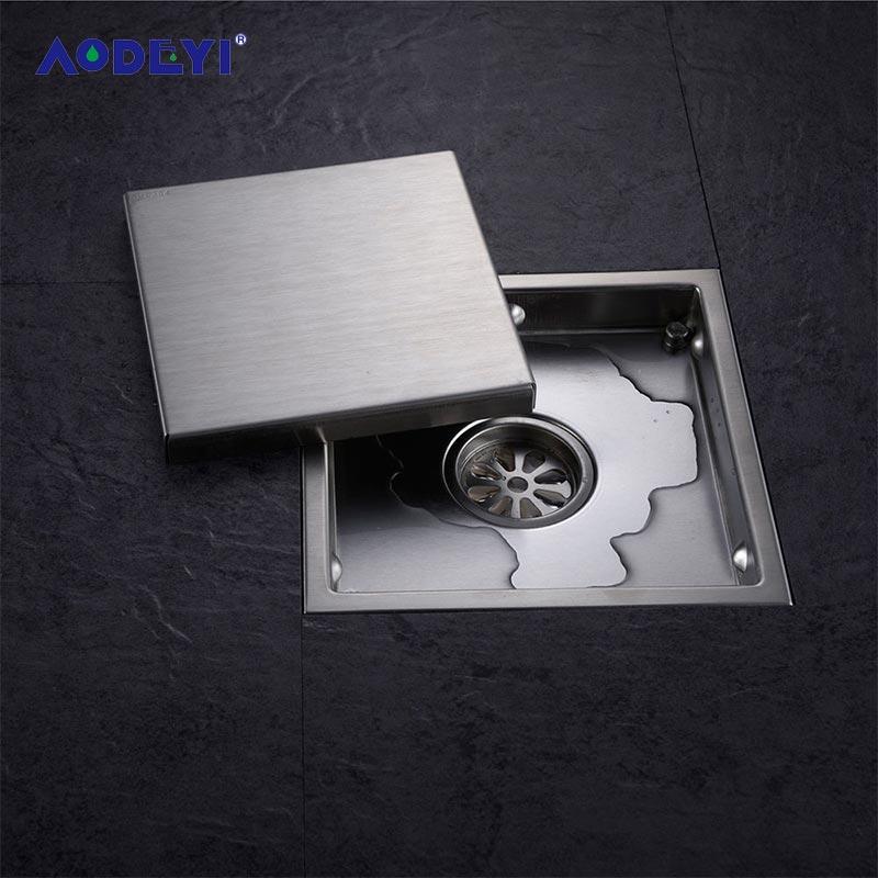 купить AODEYI Tile Insert Square Stainless Steel Floor Drain Waste Grates Bathroom Invisible Shower Drain 110 x 110MM Or 150 x 150MM по цене 913.21 рублей