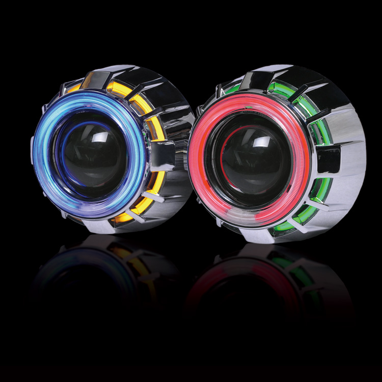 2pcs 2.5 Double CCFL Demon Angel Eyes Bi-xenon HID Projector headlight Lens LHD RHD use xenon H1 with H4 H7 adapter car styling lhd 3 inch hid bixenon projector lens double angel eye ccfl h7 h4 2pcs 35w slim ballasts 4300k 6000k 8000k use h1 xenon bulb