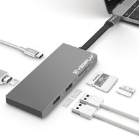 Overfly Grey 6 in 1 USB C Hub 3.1 Type C Charging Port TF/SD Card Reader for MacBook Pro 2015/2016/2017 and more Type C Devices